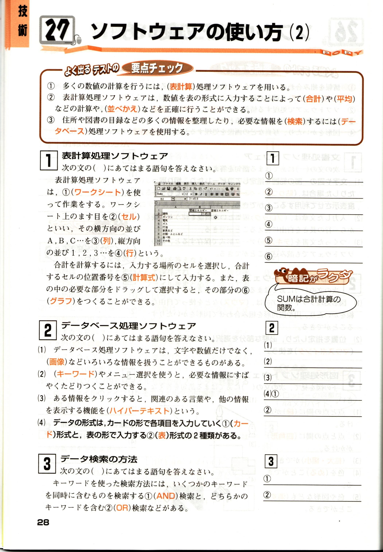 中2ポピー実技内容(技術)