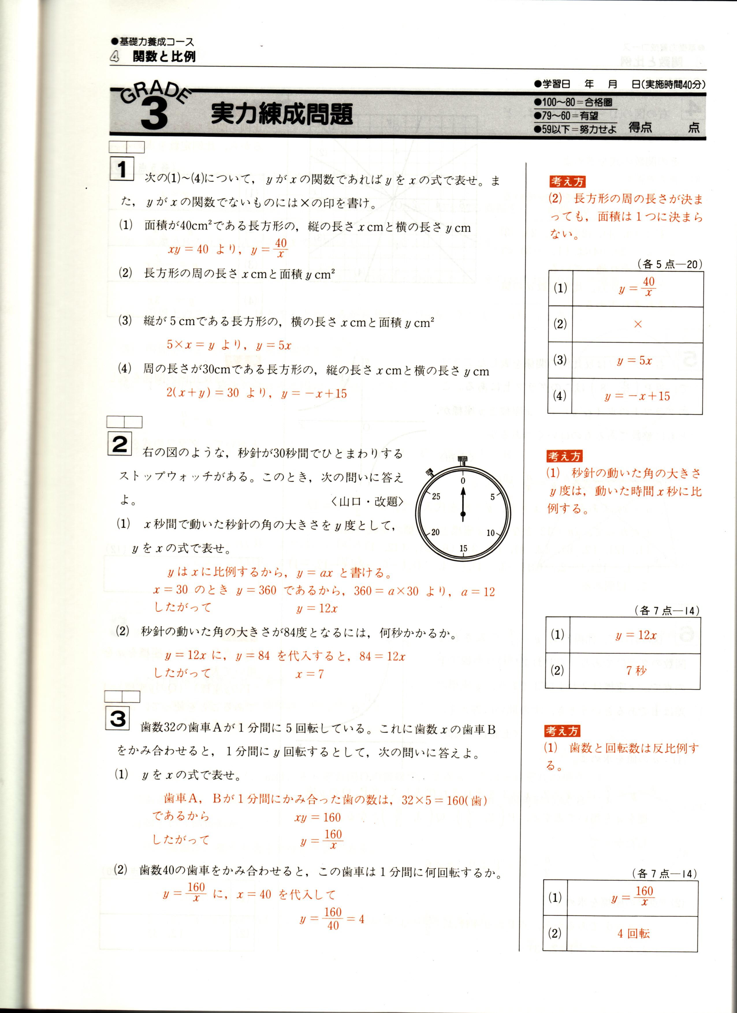 高校受験教材 グレード2 実力練成問題 数学 解答・解説