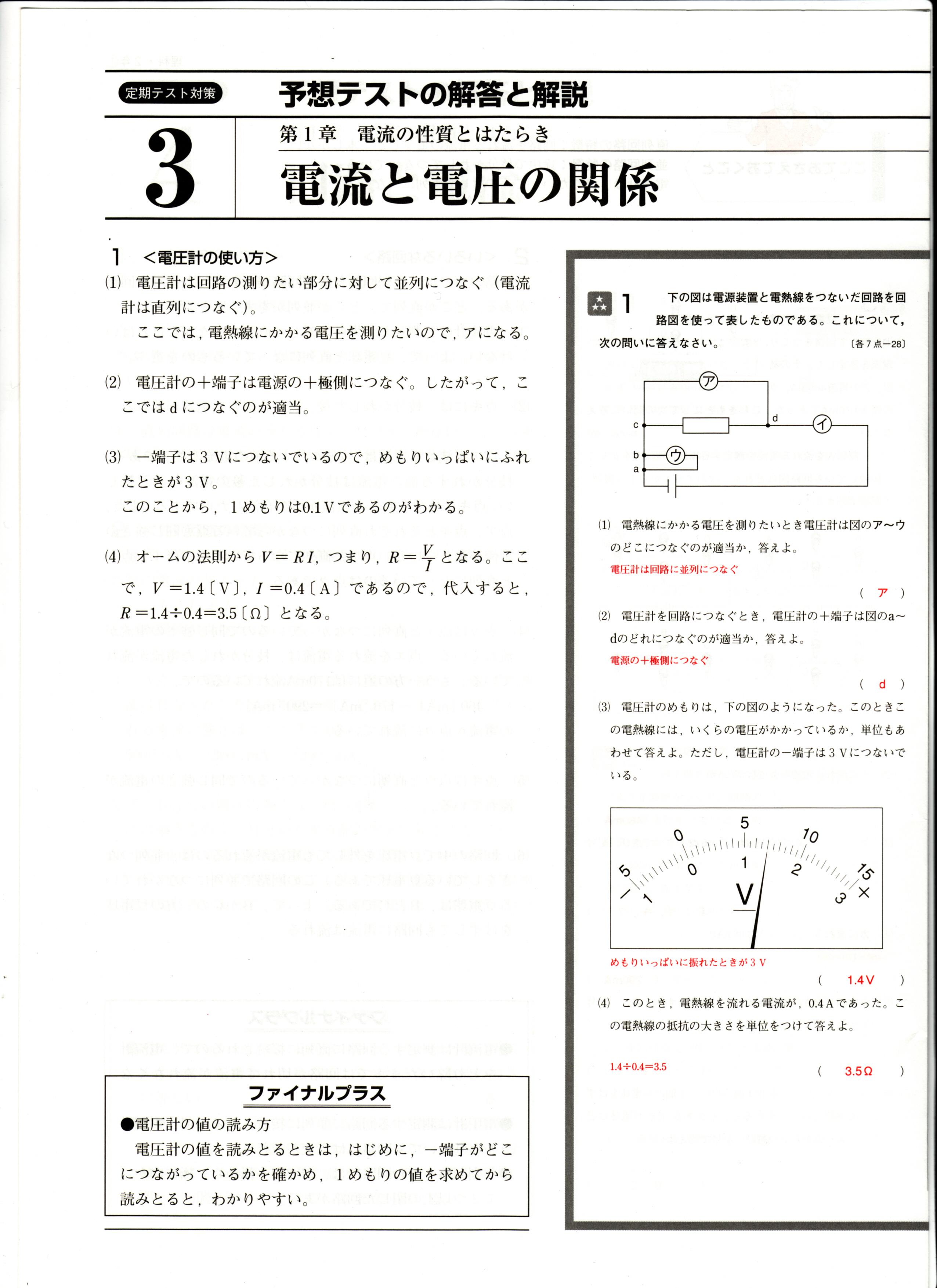 デイリーエースナビ理科中2 定期テスト対策 解答・解説